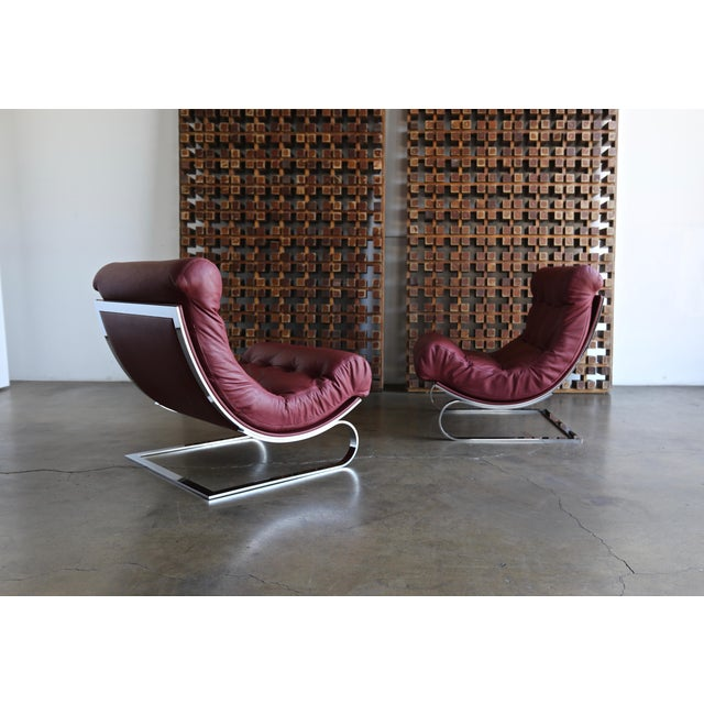 Renato Balestra leather lounge chairs for Cinova Italy circa 1970. This pair is in very good original condition. A really...
