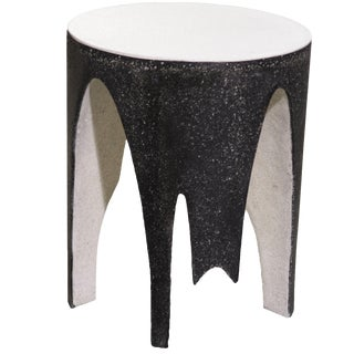Cast Resin 'Corridor' Side Table, Black and White Finish by Zachary A. Design For Sale