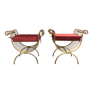 Pair of Italian Curule Gilt Benches For Sale