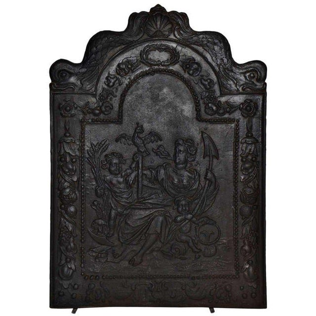 """Metal 17th c. Antique Cast Iron Fireback Displaying """"Spes"""" The Goddess Hope For Sale - Image 7 of 7"""