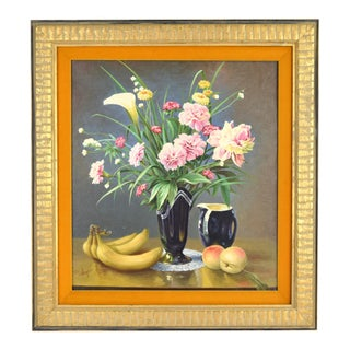 1973 Finely Rendered Realist Still Life Oil Painting Flowers Bananas Peaches Signed For Sale