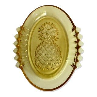 1950s Vintage Yellow Glass Pineapple Dish For Sale