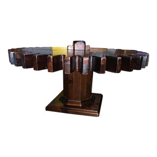 Ethan Allen Spinning Cog Wheel Coffee Table For Sale