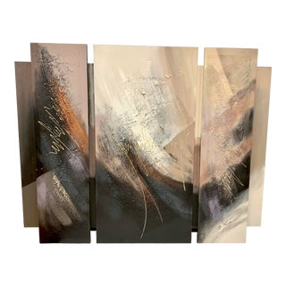 Signed Mid Century Original Tryptic Abstract Paintings on Canvas For Sale