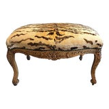 Image of Vintage Tiger Velvet Ottoman For Sale