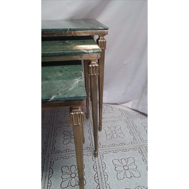 French Brass/Bronze Marble Top Nesting Tables- S/3 For Sale - Image 7 of 9
