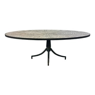 Industrial Modern Metal and Wood Oval Cocktail Table For Sale