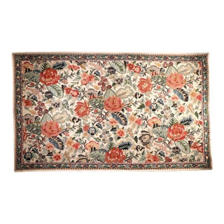 Vintage Traditional Indian Wool Chain Stitch Area Rug For Sale