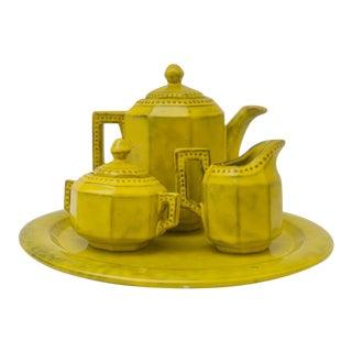 1960s Italian Glazed Yellow Terra Cotta Coffee or Tea Set For Sale