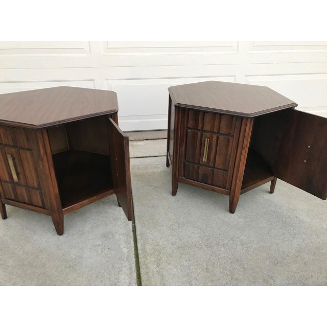 Mersman Mid Century Hexagon Brutalist-Style Side Tables or Nightstands - a Pair - Image 4 of 8