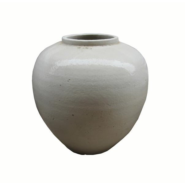 Chinese White Ceramic Pottery Vase For Sale - Image 4 of 4