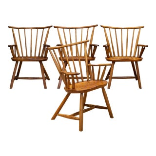 Hand Crafted Primitive Stick Arm Chairs C.1930-1940 - Set of 4 For Sale