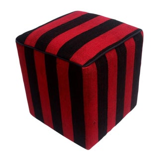 Arshs Don Red/Black Kilim Upholstered Handmade Ottoman For Sale