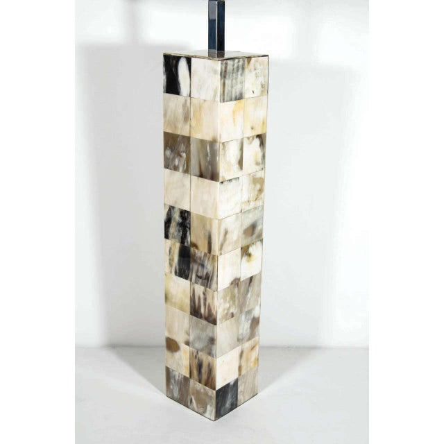 Contemporary Mosaic Genuine Horn Table Lamp For Sale - Image 3 of 8