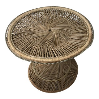 Vintage Wicker Hourglass Side Table For Sale