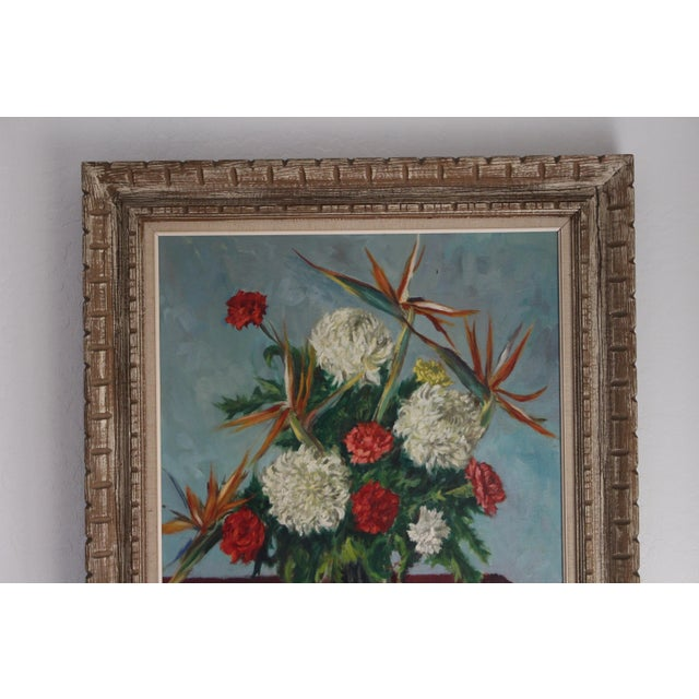 Still Life Flowers With Burgundy Cloth Painting by Ben Wilks For Sale In Phoenix - Image 6 of 13