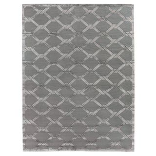 Vera Hand-Knotted Wool ViscoseLight Blue Rug-10'x14' For Sale