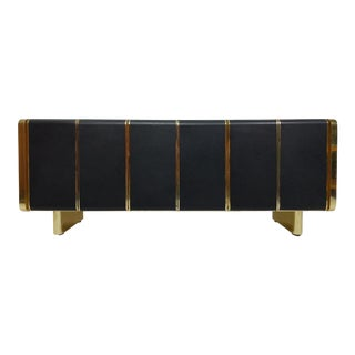 Mid Century Black and Brass Credenza, Media Console, Milo Baughman Style For Sale