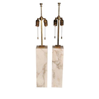 T.H. Robsjohn-Gibbings Square Marble Table Lamps - a Pair For Sale