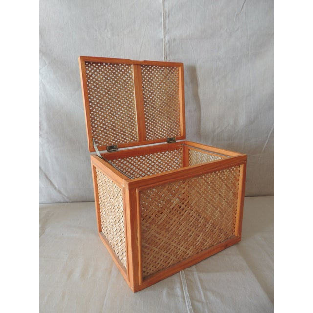 Boho Chic Woven Bamboo Trellis Pattern Filing Box With Lid For Sale - Image 3 of 7