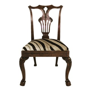 George II Walnut Dining Chairs in South African Zebra Hide - Set of 8 For Sale