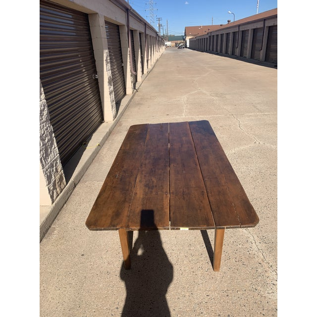 1960s Rustic Barnwood Plank Top Dining Table For Sale - Image 5 of 13
