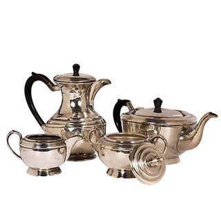 Four-Piece Coffee and Tea Service Hotel Silver and Black Handles For Sale