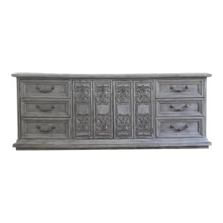 Vintage Hand Painted Gray Standard Dresser with Mirrors