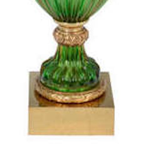 Brass Seguso for Marbro Murano Vintage Green Glass Lamp For Sale - Image 7 of 8