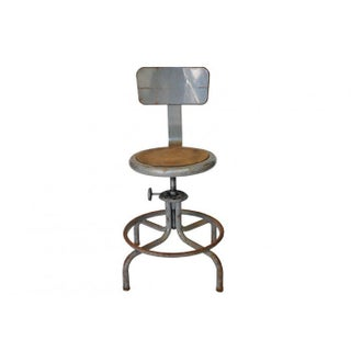 Industrial European Draftsmans Stool For Sale