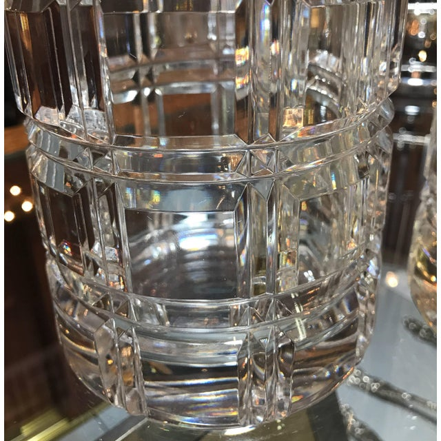 1950s Mid-Century Modern Cut Crystal Cylinder Vases - a Pair For Sale In Philadelphia - Image 6 of 11