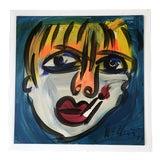 Image of Vintage Peter Robert Keil Signed Expressionist Portrait Painting, 1977 For Sale