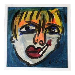 Vintage Peter Robert Keil Signed Expressionist Portrait Painting, 1977 For Sale