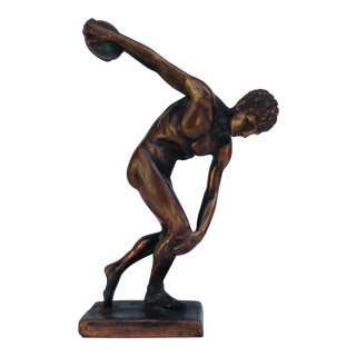 c.1970s Plaster & Gilt Grecian Olympic Discus Athlete For Sale