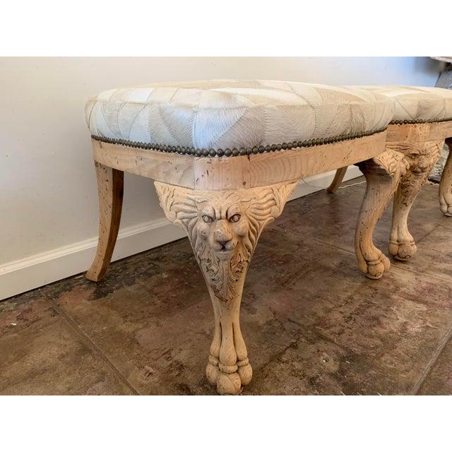 Neoclassical Antique Chevron Hide Oak Ottomans- a Pair For Sale - Image 3 of 6