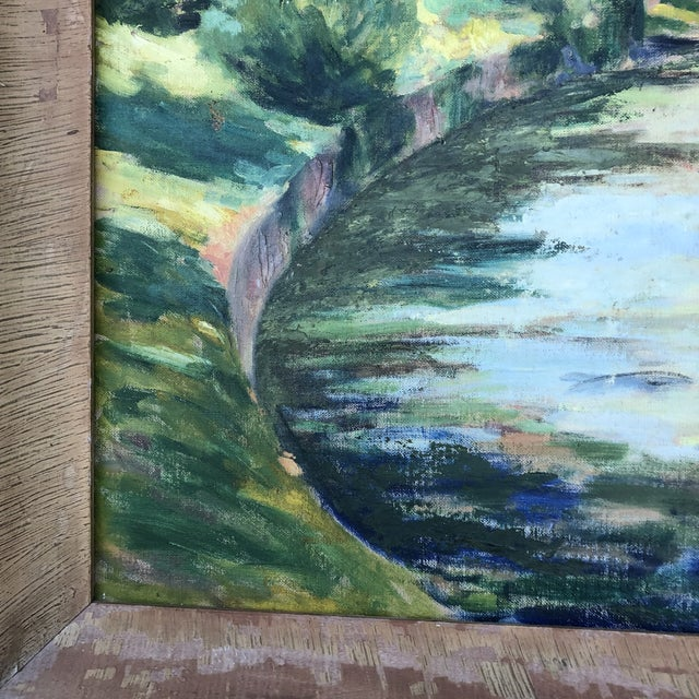 1980s 1980s M.Bickel Children Playing in Stream Landscape Painting For Sale - Image 5 of 13
