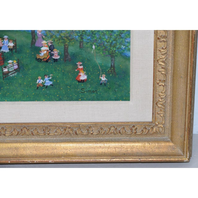 """Mollie Simon """"Bandstand in the Park"""" Original Oil Painting c.1960s Lovely vintage folk art painting by American artist..."""