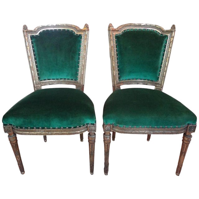 19th Century French Louis XVI Style Giltwood Chairs - a Pair For Sale