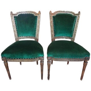 19th Century French Louis XVI Style Giltwood Chairs - A Pairs For Sale