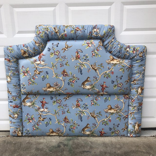 1980s Boho Chic Blue Tufted Ruching Queen Headboard With Monkey Pomegranate Details** For Sale In Atlanta - Image 6 of 6