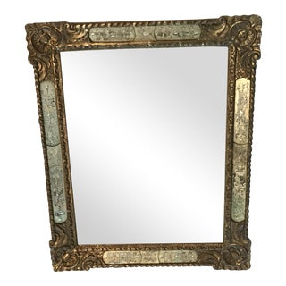Julia Gray Mercury Etched Inset 22k Framed Mirror For Sale