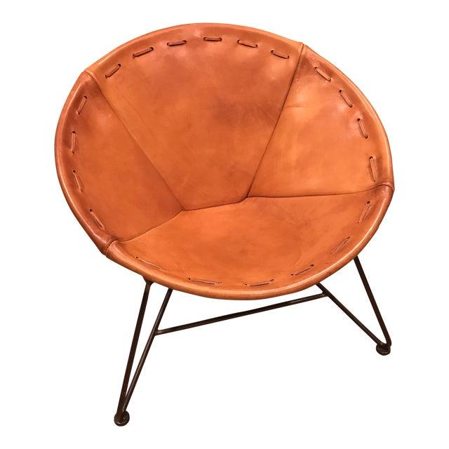 Minimalism Garza Marfa Saddle Orange Leather Round Chair For Sale