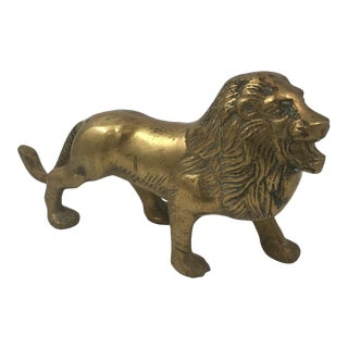 Mid-Century Solid Brass Lion Figurine For Sale