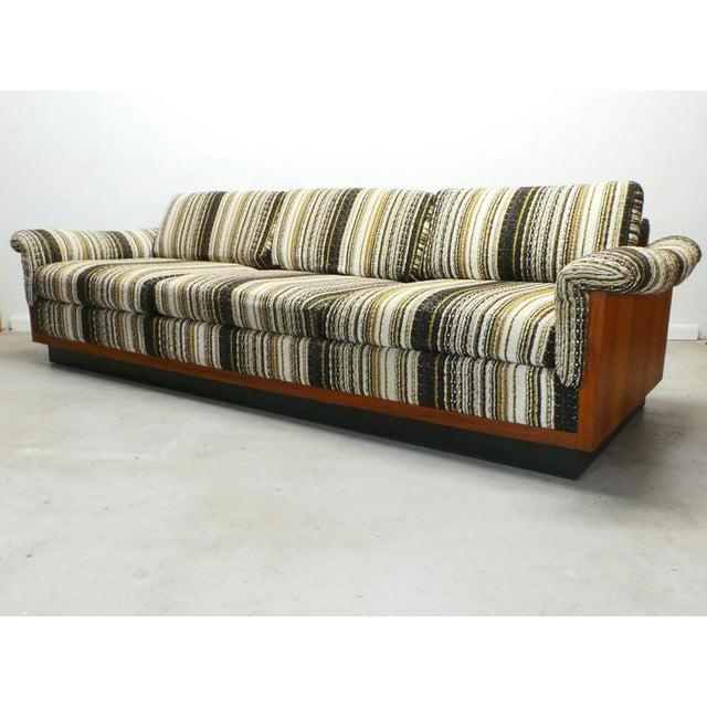 Black Mid Century Boho Modern Walnut Milo Baughman Style Sofa For Sale - Image 8 of 8