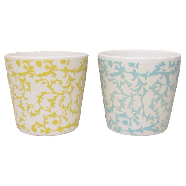 Set of five charming bisque planters, three with yellow slip glazing and two with blue glaze. Lovely as intended for small...