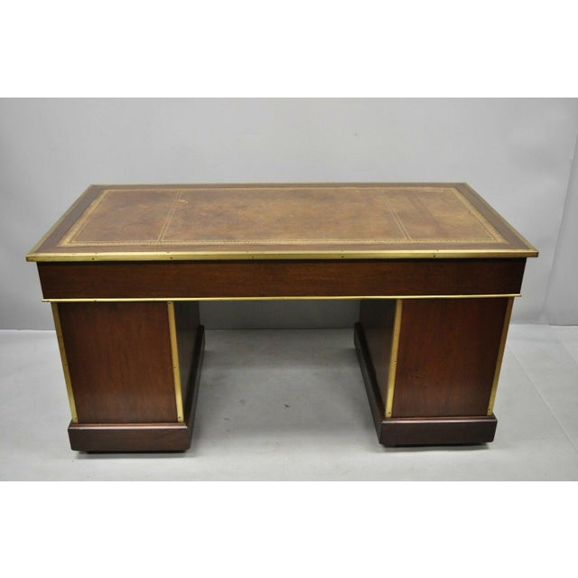 19th Century Campaign Mahogany Partner Desk For Sale - Image 11 of 13