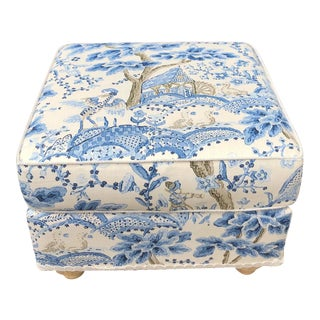 Scalamandre Kelmescott Square Ottoman For Sale