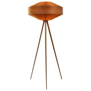 1960s Hans-Agne Jakobsson Wood Tripod Floor Lamp for Ab Ellysett For Sale