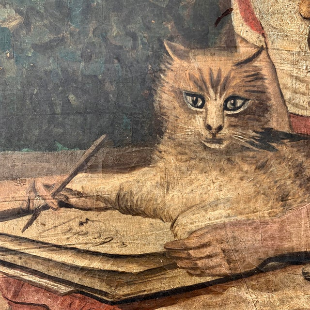 """19th CenturyFolk Art Paintings, """"Learning to Read and to Write"""" With a Dog and a Cat - a Pair For Sale - Image 9 of 13"""