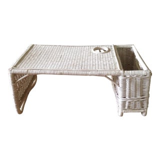 Vintage White Wicker Bed Tray For Sale